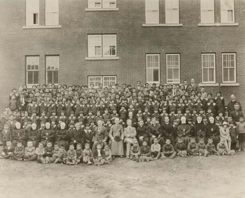 Group of students outside Red Deer Industrial School