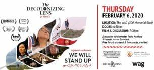 Decolonizign Lens February 6, 2020 event poster.