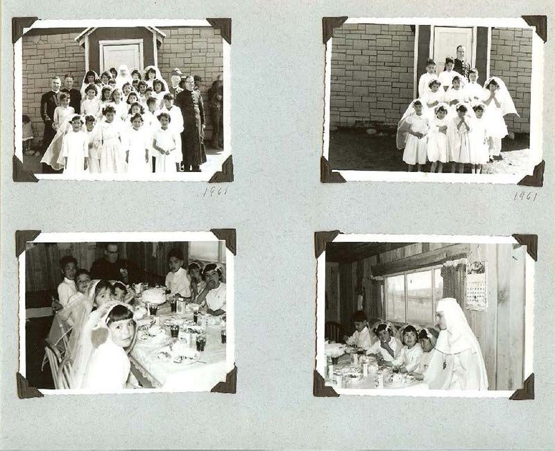 Group of four photos of students from Anahim Lake School