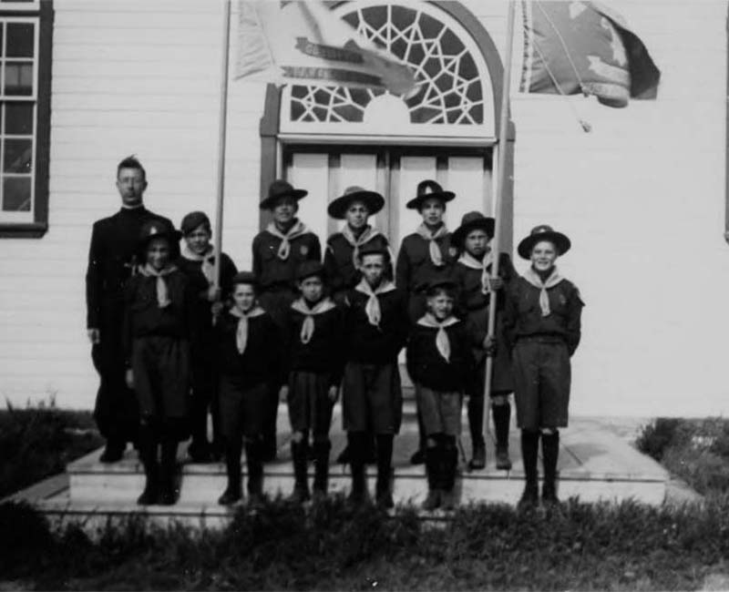 Group of people outside at Holy Angels Fort Chipewyan School