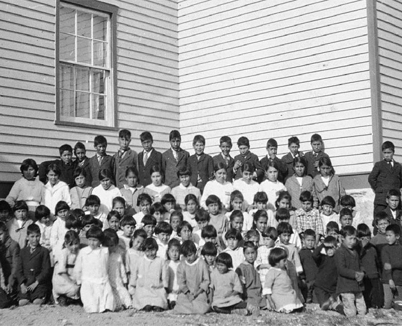 Group of students in front of Lac la Ronge school