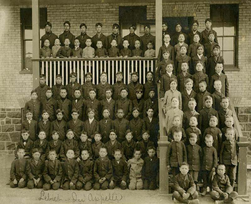 Group of students in front of Lebrret Qu'Appelle school