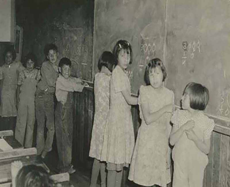 Group of students writing on chalkboard at Morley Stony School