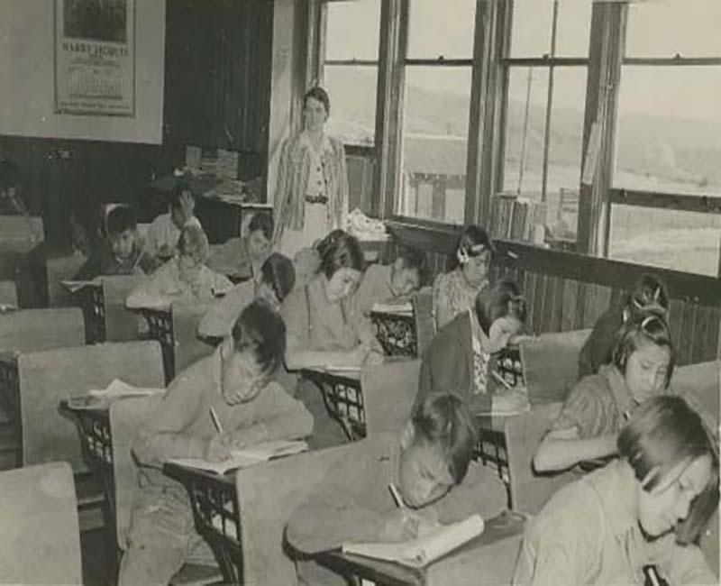 Students sitting at desks in Morley Stony School