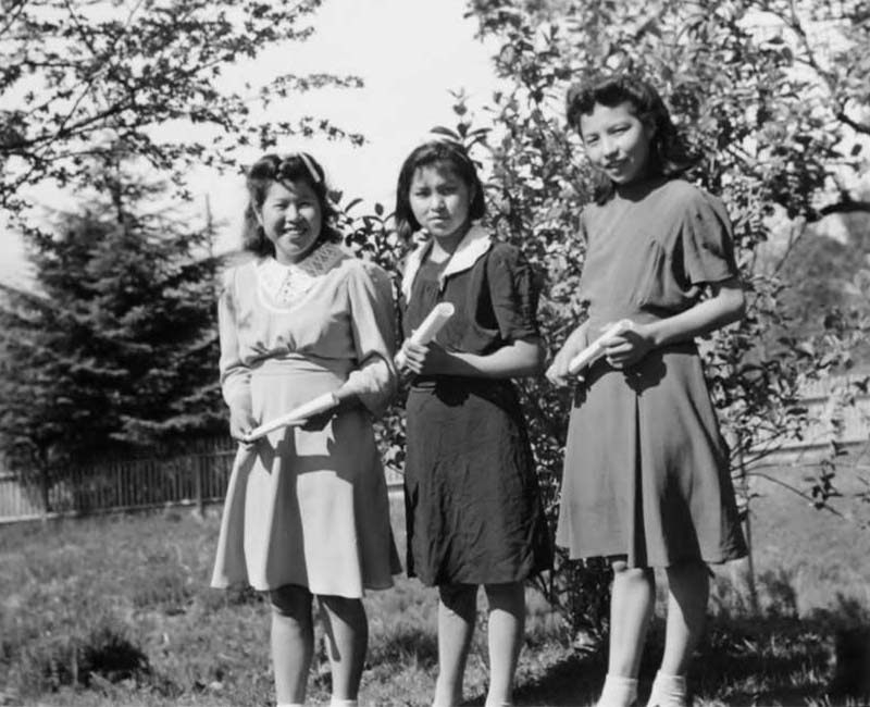 Group of three girls standing outside from Port Simpson Crosby Home for Girls