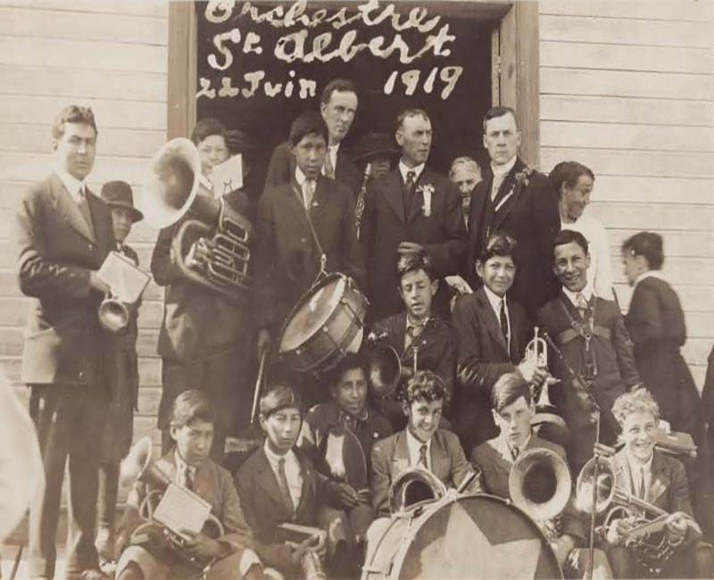group of students in band at St. Albert Youville school