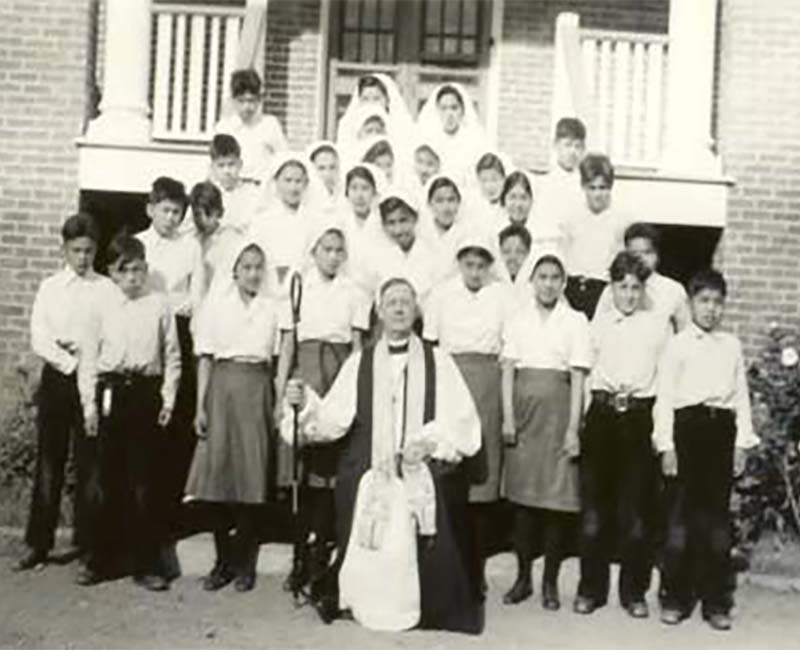 group of students in front of St. Georges school