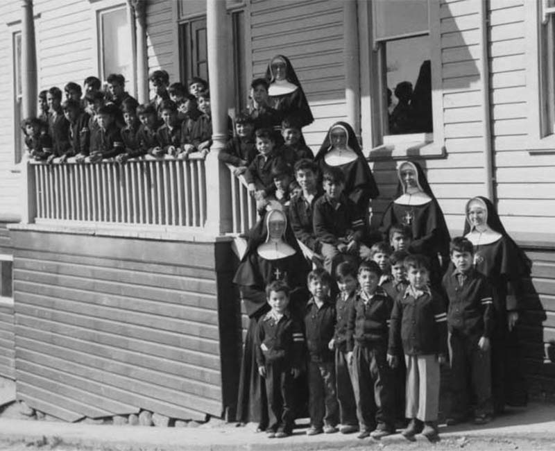 Students and nuns from St. Pauls Squamish school