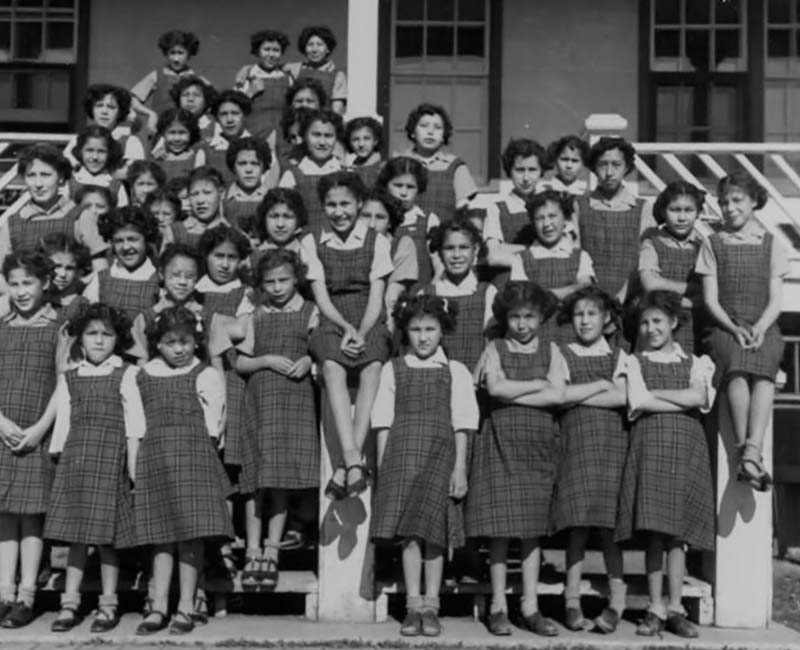 Group of students outside of Sturgeon Lake Calais school