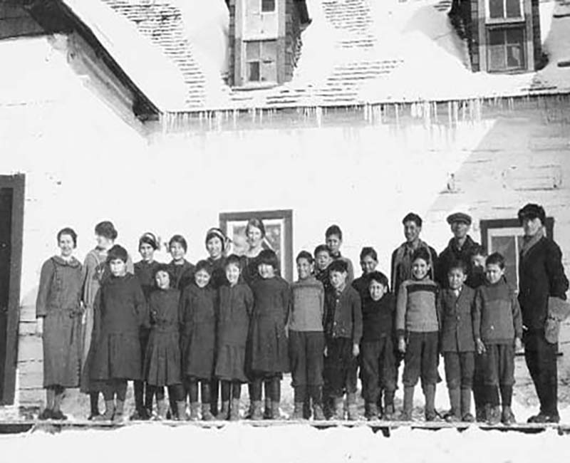 group of students outside at Wabasca St. Johns school