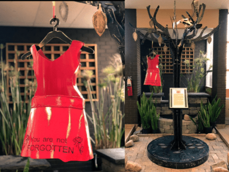 Red dress memory ornament on display