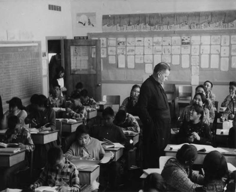 Students sitting at desks in Chesterfield Inlet school