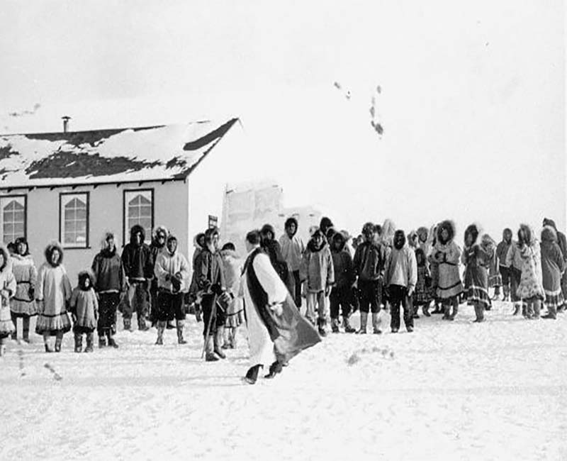 People outside at Federal Hostel at Cape Dorset