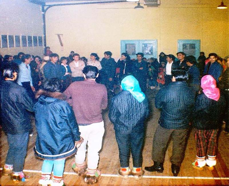 Group of people in Federal Hostel at Eskimo Point