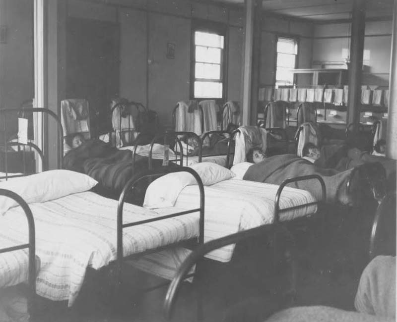 Students in beds at Federal Hostel at Pangnirtung