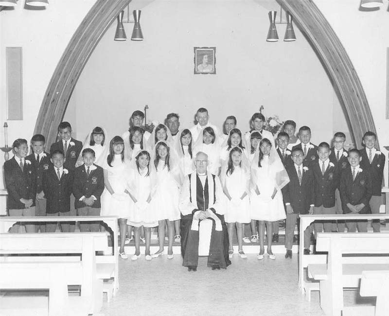 Group of students in church at La Tuque school