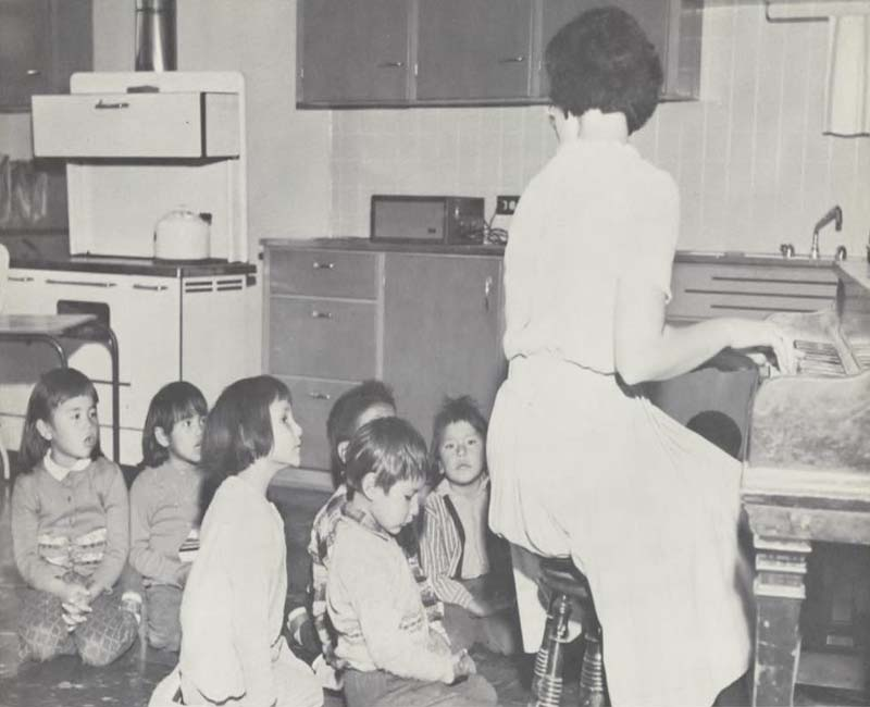 group of students in kitchen at Norway House school