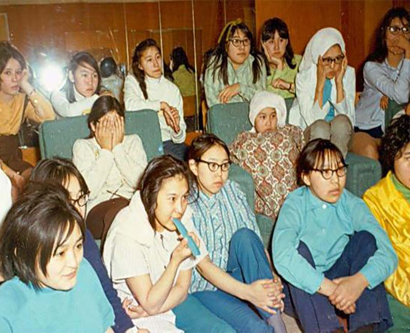 Group of students sitting in Stringer Hall Inuvik school
