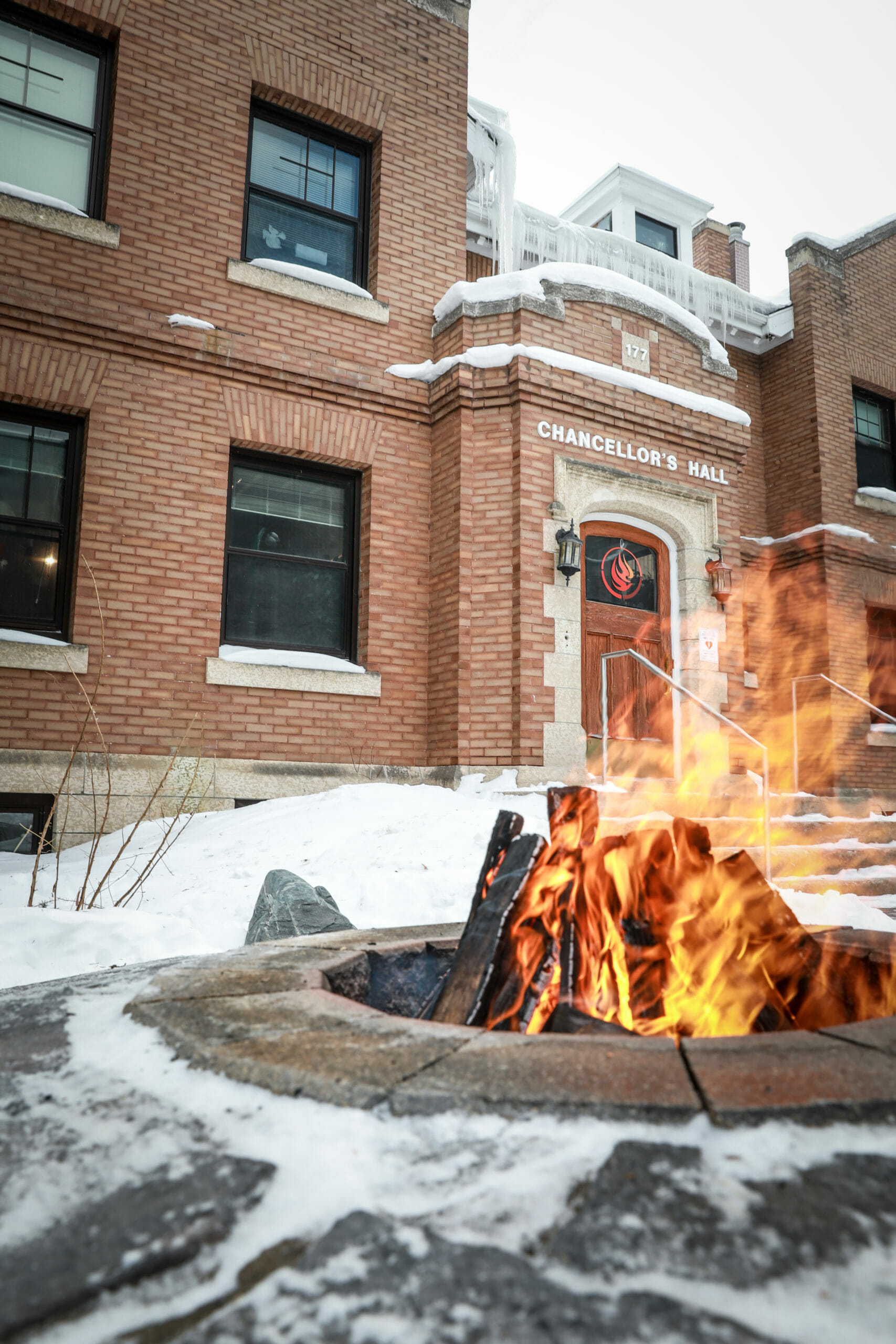 Fire burning outside the NCTR building in the winter