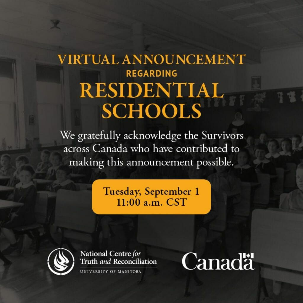 Residential Schools Virtual Announcement poster.